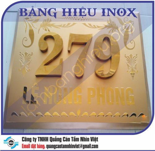 Mẫu bảng hiệu inox 013
