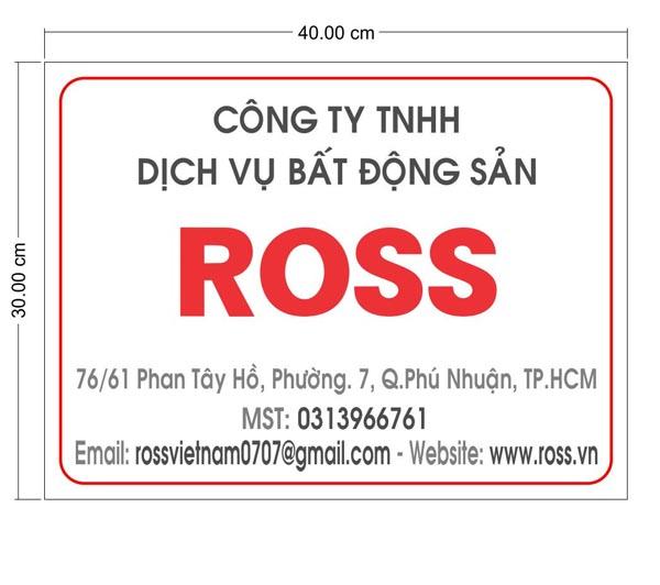 Bảng hiệu mica công ty ROSS