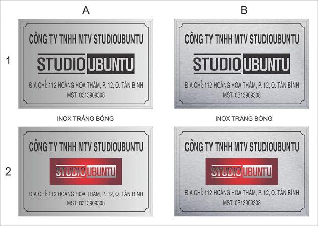 Làm bảng hiệu inox Studio Unbuntu
