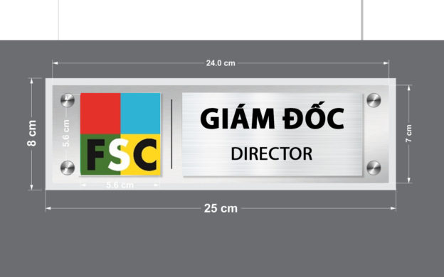 Làm bảng inox phòng ban công ty FSC VIETNAM