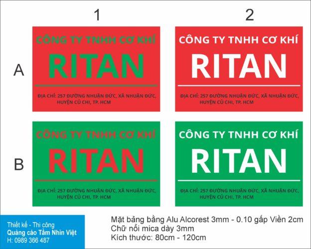 Làm bảng hiệu công ty Cơ khí Ritan – Củ Chi
