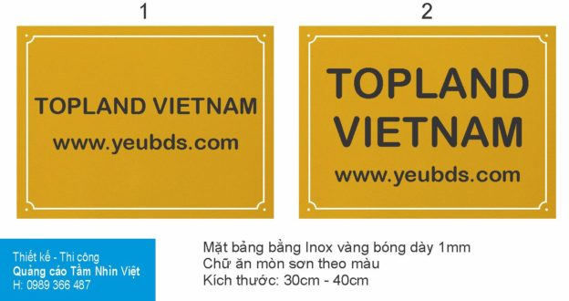 Làm bảng hiệu inox TopLand Vietnam