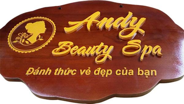 Làm bảng hiệu gỗ Andy Beauty Spa