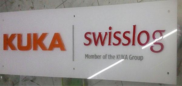 Làm bảng hiệu mica ghép công ty Kuka Swisslog