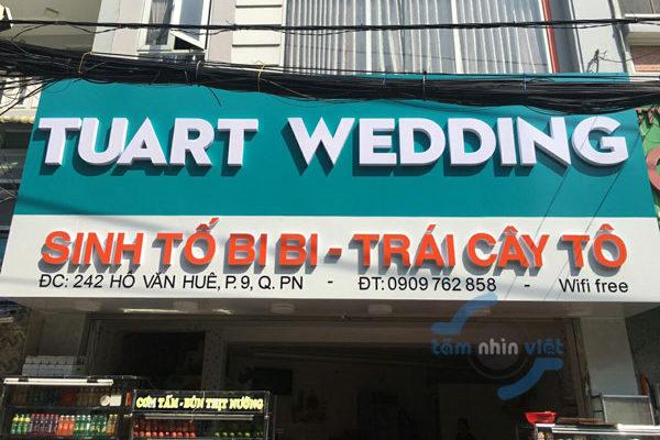 Làm bảng hiệu quảng cáo Tuart Wedding – Sinh tố Bibi