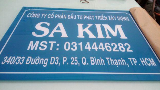 Bảng hiệu Mica công ty Sa Kim
