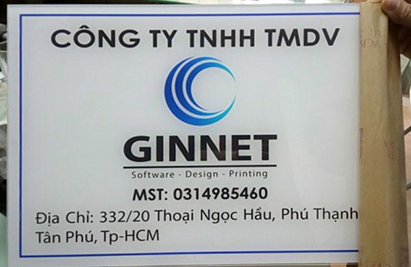 Làm bảng hiệu mica công ty Ginnet
