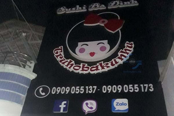 Làm bảng hiệu nhà hàng Sushi Ba Đình